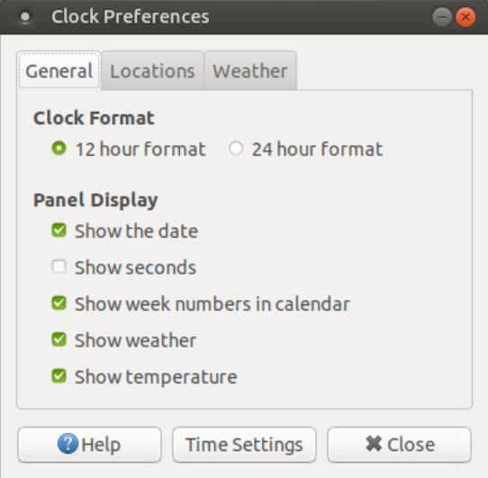 Ubuntu MATE 18.04 Clock Settings