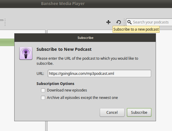 The Banshee subscribe to new podcast dialog