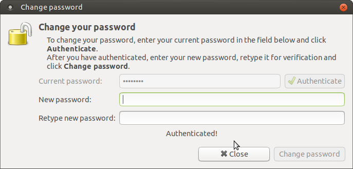 Enter current and new password.