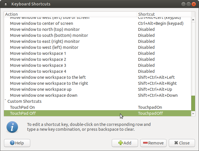 The two G60 touchpad shortcuts