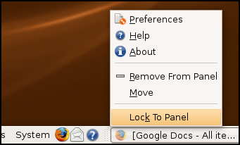 Lock to panel