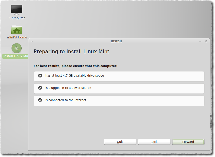 Preparing to install Linux Mint