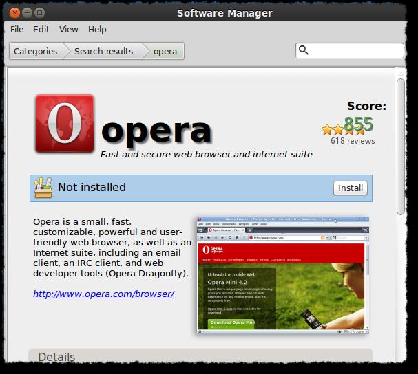 Ready to install 'Opera'