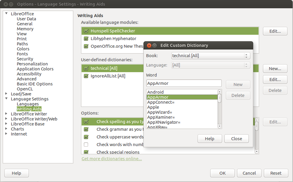 LibreOffice Dictionary Edit Dialog Boxes.