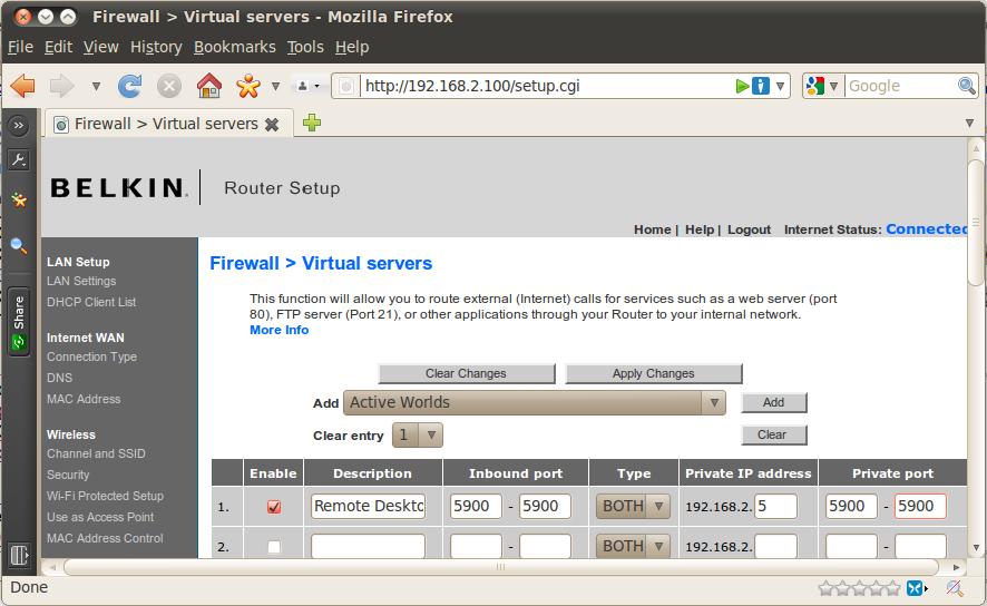 Port forwarding a Belkin router