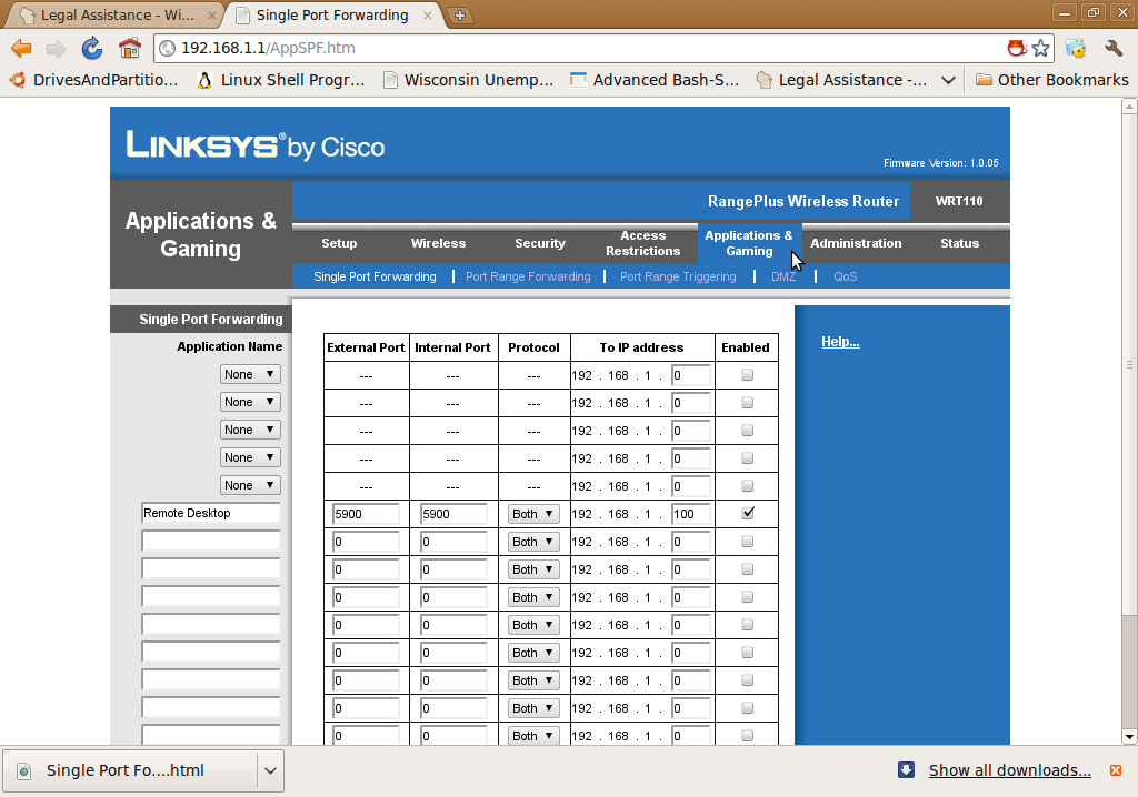 Port forwarding a Linksys router