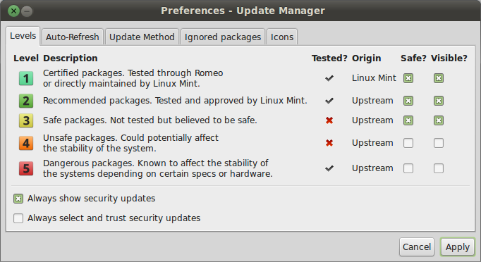 Preferences - Update Manager