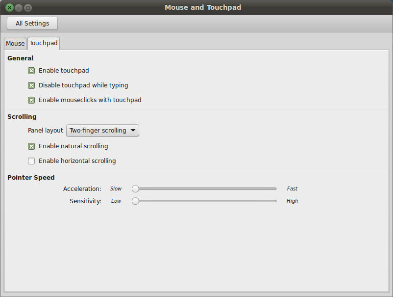 Touchpad Settings