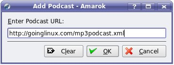 Amarok add podcast dialog box.