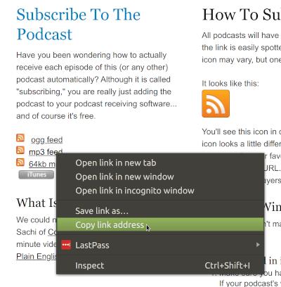 Copy feed link.