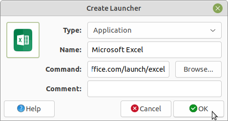 Creating a Microsoft Excel launcher