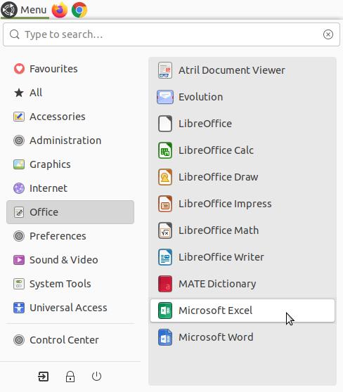 Microsoft Excel in the menu