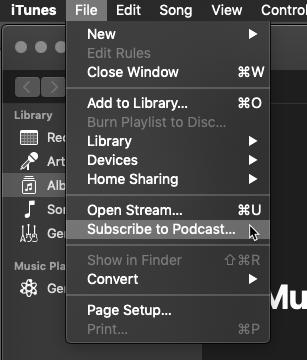 iTunes subscribe menu