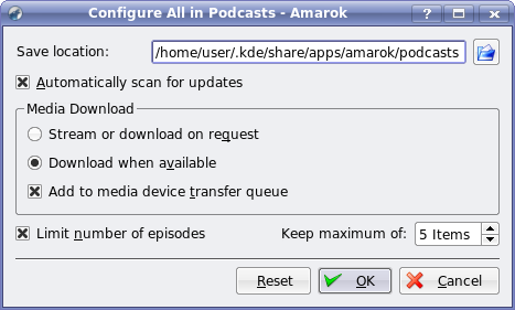 AmaroK - Playlists, Podcasts, right-click