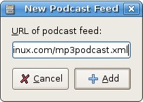 The Rythmbox new podcast dialog