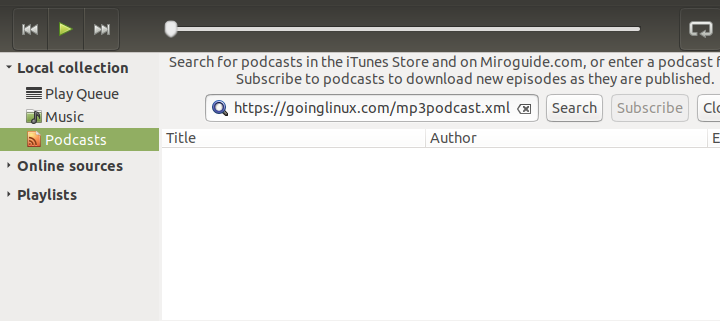 The Rythmbox podcast search