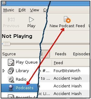 New podcast feed button